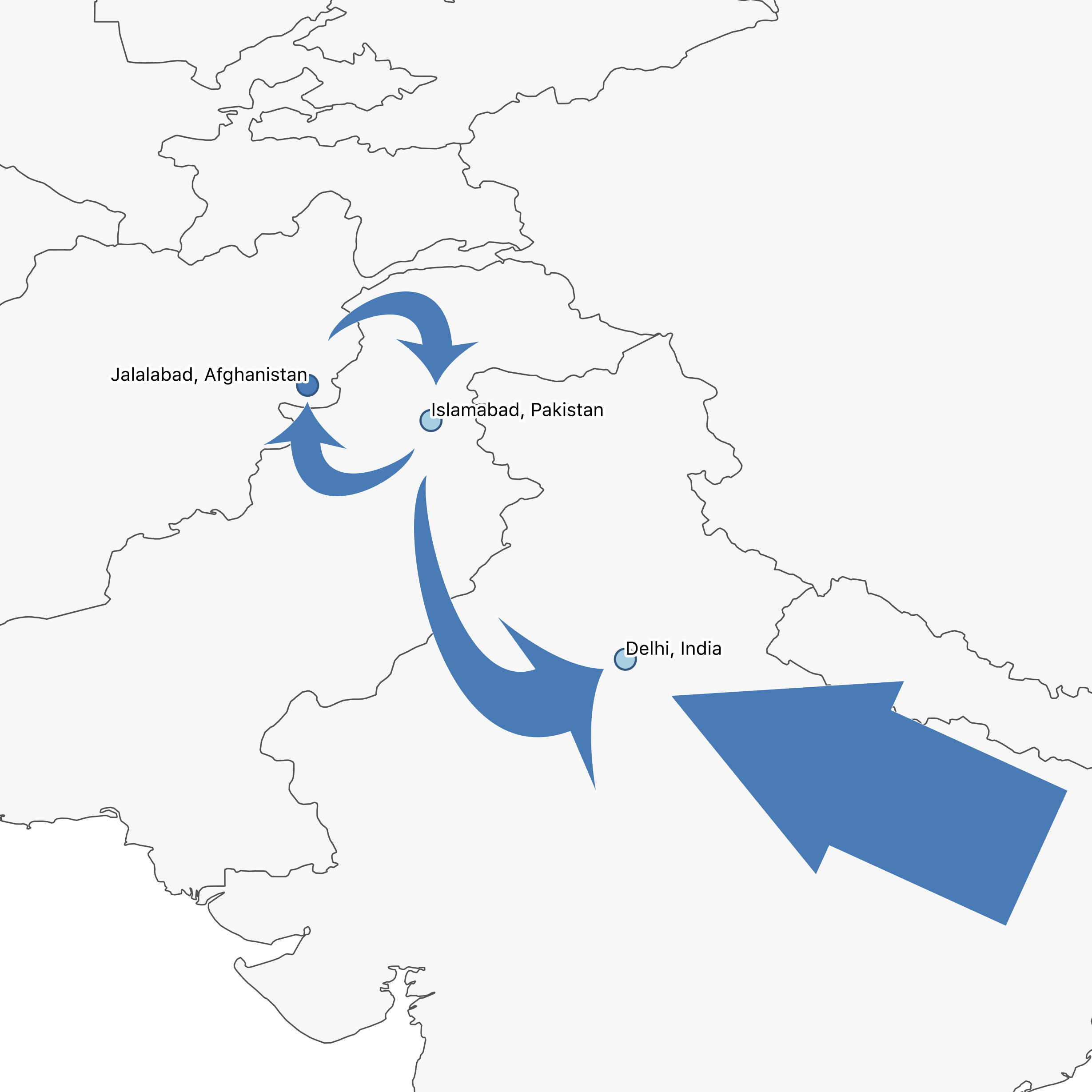 Delhi is a destination city in the South Asia region. Click the map to learn more about the region, and to read other RIT cases from cities linked together by these movements of people.