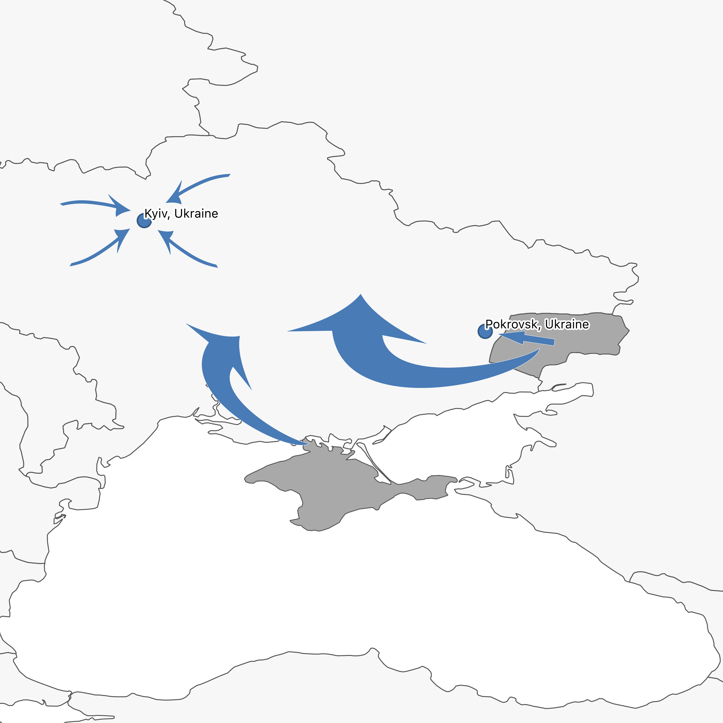 Pokrovsk is both a destination and a point for onward migration in the Eastern European region. Click the map to learn more about the region and to read more RIT case reports from cities and towns linked together by these movements of people.