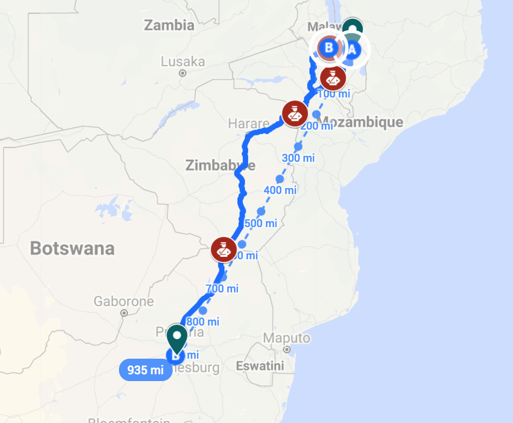The route to Johannesburg from Mangochi involves numerous checkpoints, each requiring bribes for migrants to pass through. The financial drain of these checkpoints, and their effect on reducing migrants' confidence in South African police and its government, act as an obstacle to integration.  Map by the author and Anna Cumming. Base map imagery (C) Google 2019.