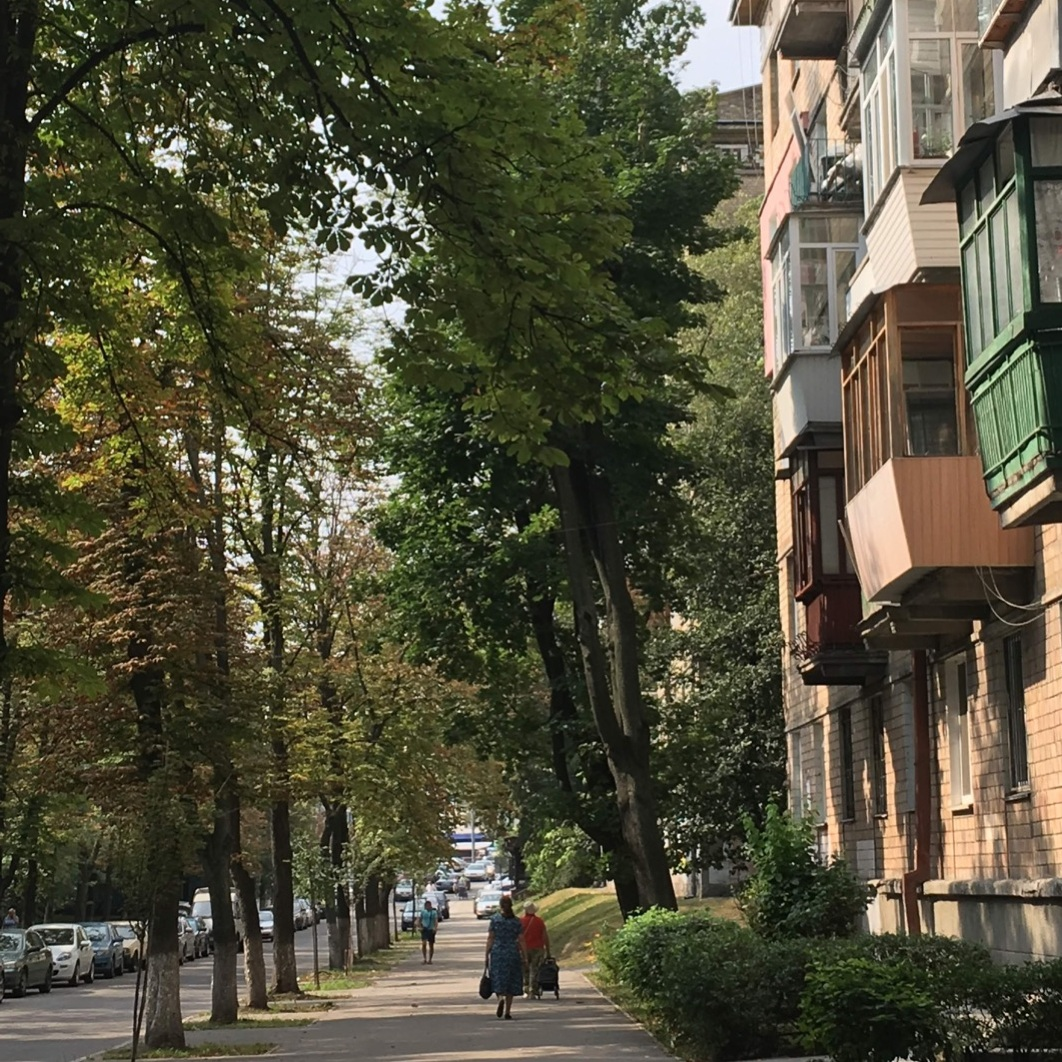 Yerevanska street in western Kyiv. Walking down the street it is impossible to tell the neighborhood's IDP residents from its lifelong residents, giving a sense of protection in obscurity. Photo by Maksym Klovak.
