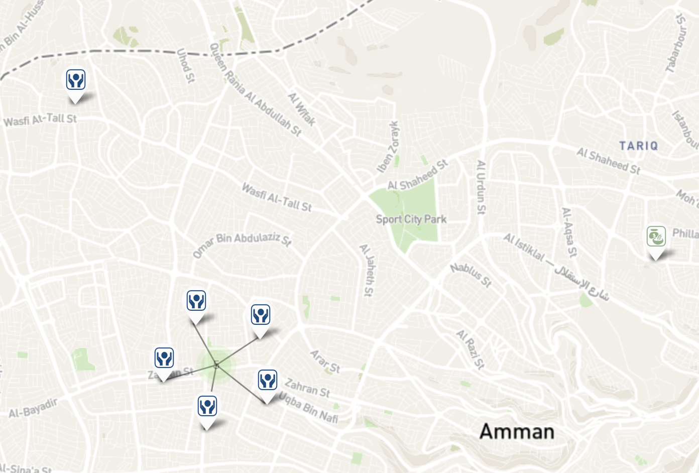 Official services for refugees are distributed across Amman, although the two largest providers are CARE (lower left), and UNHCR (upper left), both located in the relatively upscale neighborhoods of West Amman. Map from UNHCR Services Advisor Client.