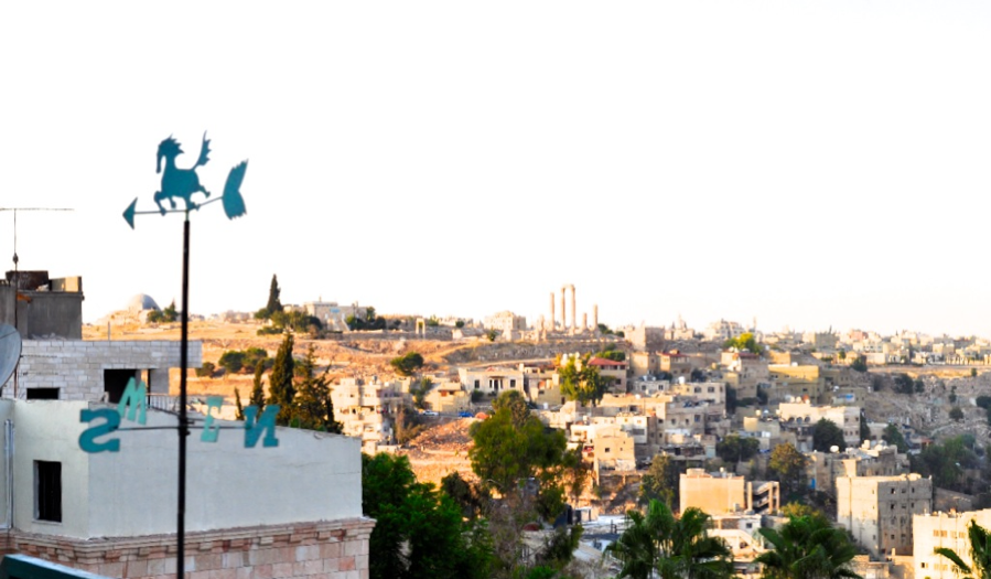 The view of Amman's ancient citadel and the east of the city from a rooftop café.