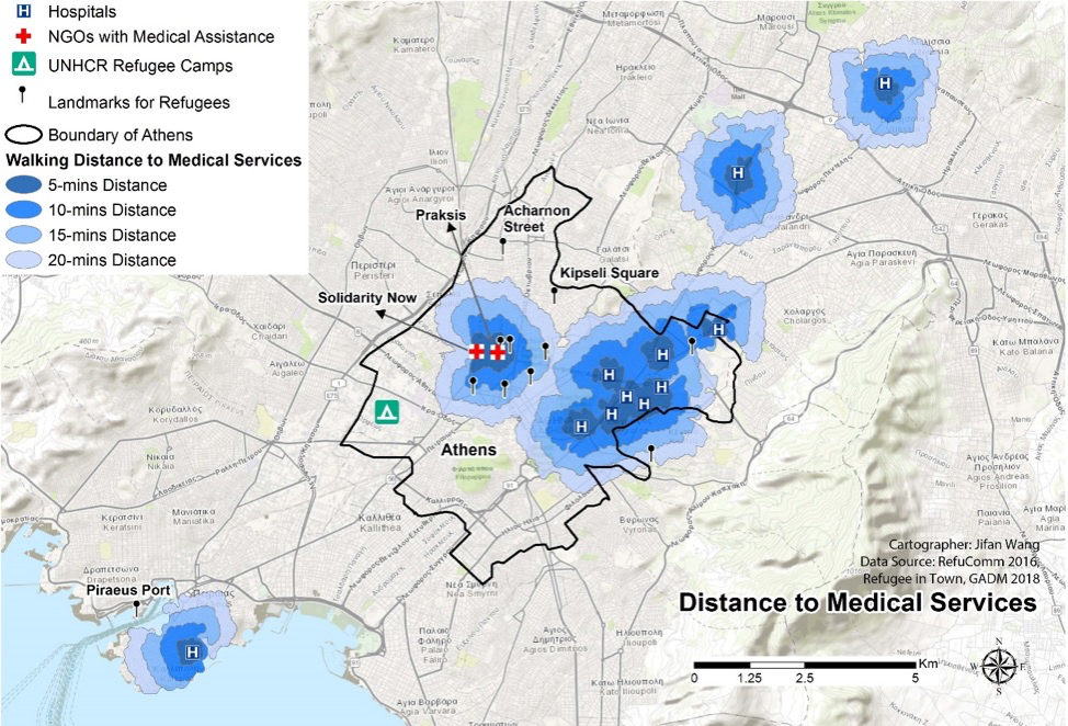 Map 3: Concentration of Health Services   Concentration of health services in the center of Athens and walking distance from meeting points and NGOs. Data source: RefuComm, 2016; Refugee in Town, GADM, 2018. Cartographer: Jifan Wang. Click map to enlarge.