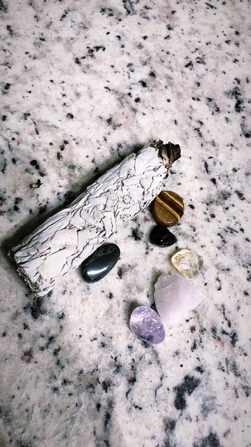 photo by me  My sage stick and crystal starter set
