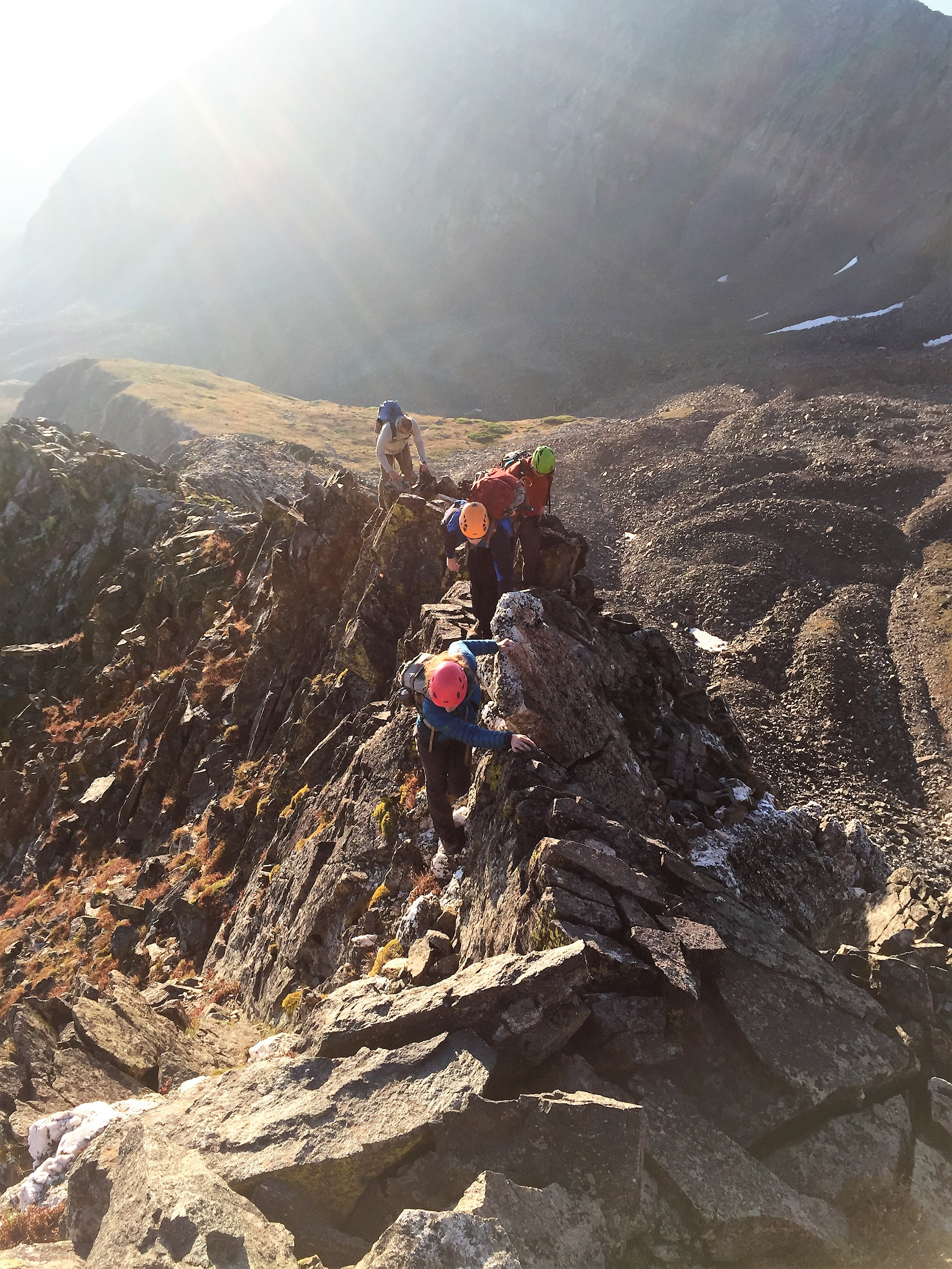A good introduction to scrambling on an exposed ridge. Photo: Jim Hasse