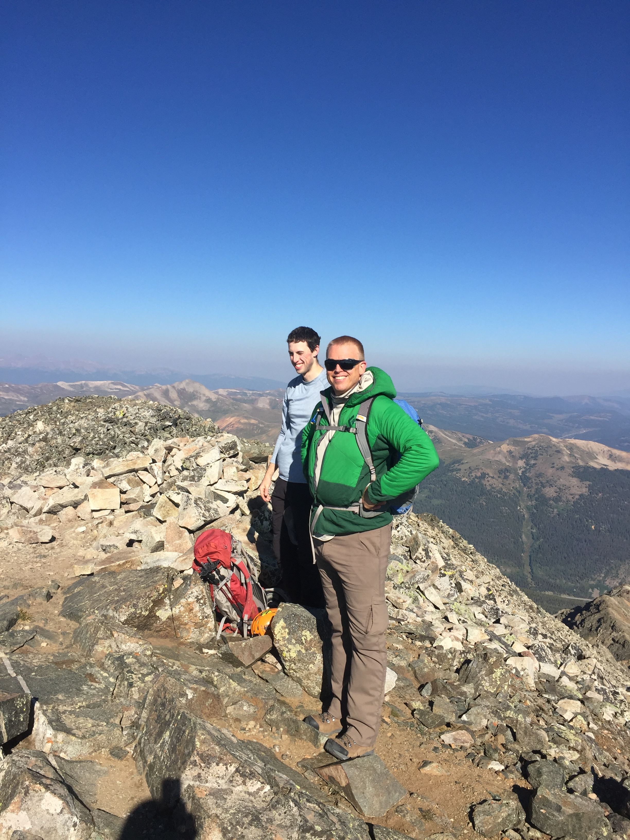 Paul and Owen on the summit of Crystal Peak (13,852'). Photo: Jim Hasse