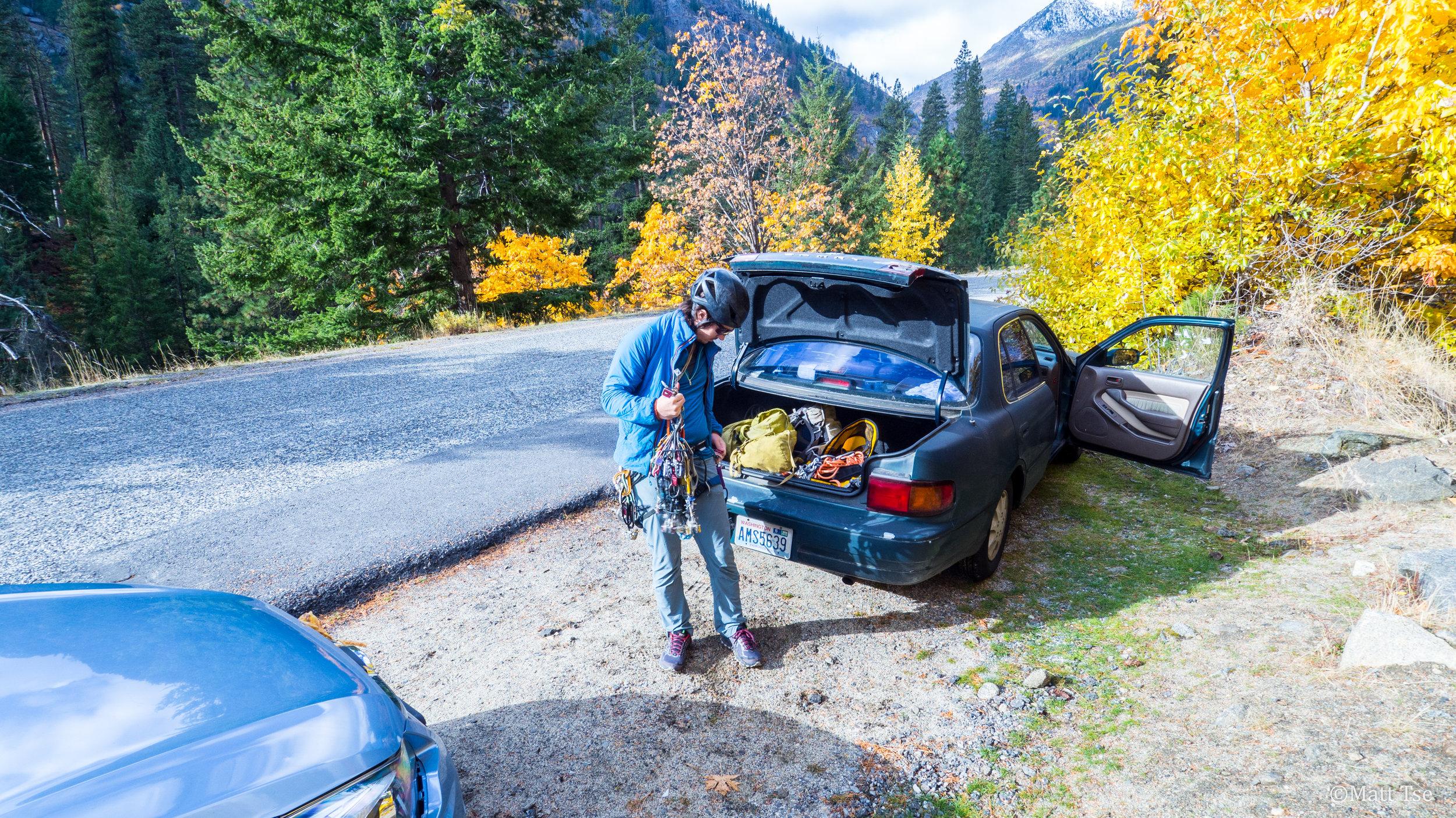 Racking up in Icicle Canyon, Leavenworth, WA