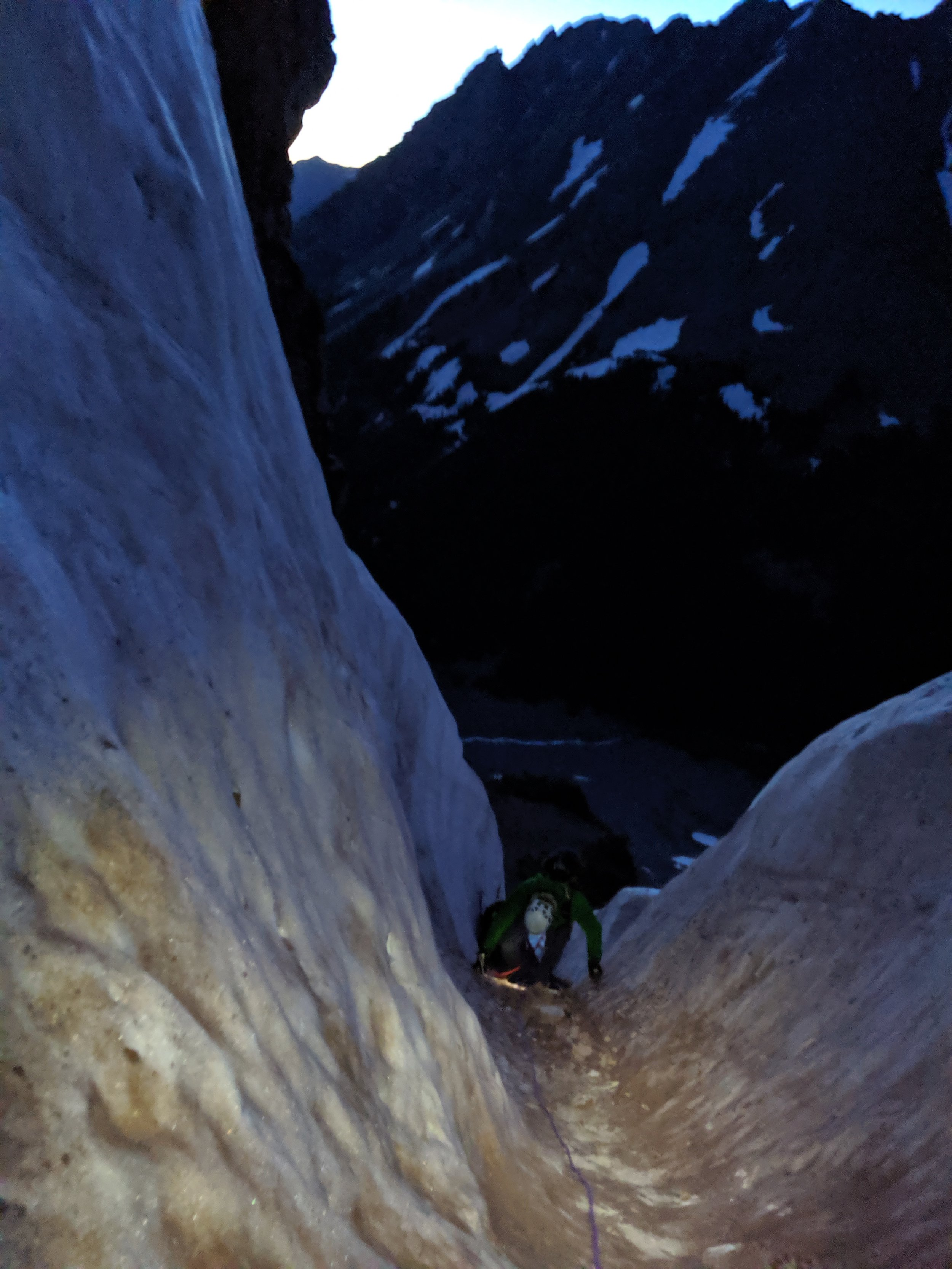 Just above the belay station