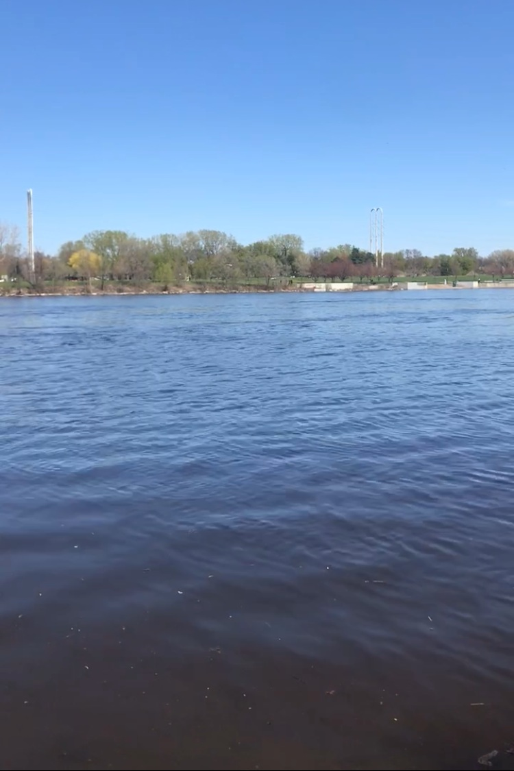 Mississippi River in spring, looking towards Boom Island