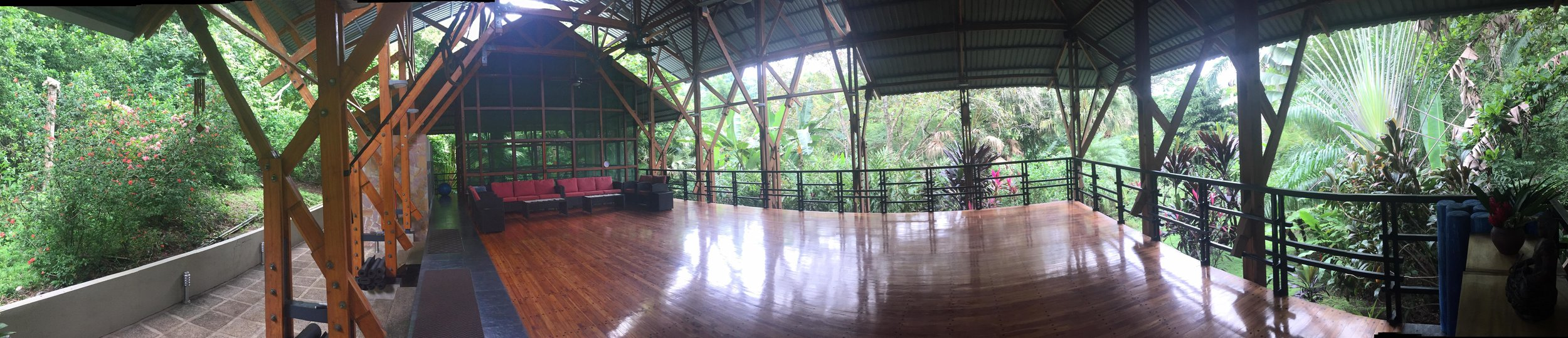 Panoramic view of yoga pagoda in the jungle of Costa Rica