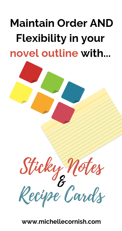 Need help organizing your novel outline notes? Sticky notes and recipe cards are a great way to keep your novel outline flexible and orderly.