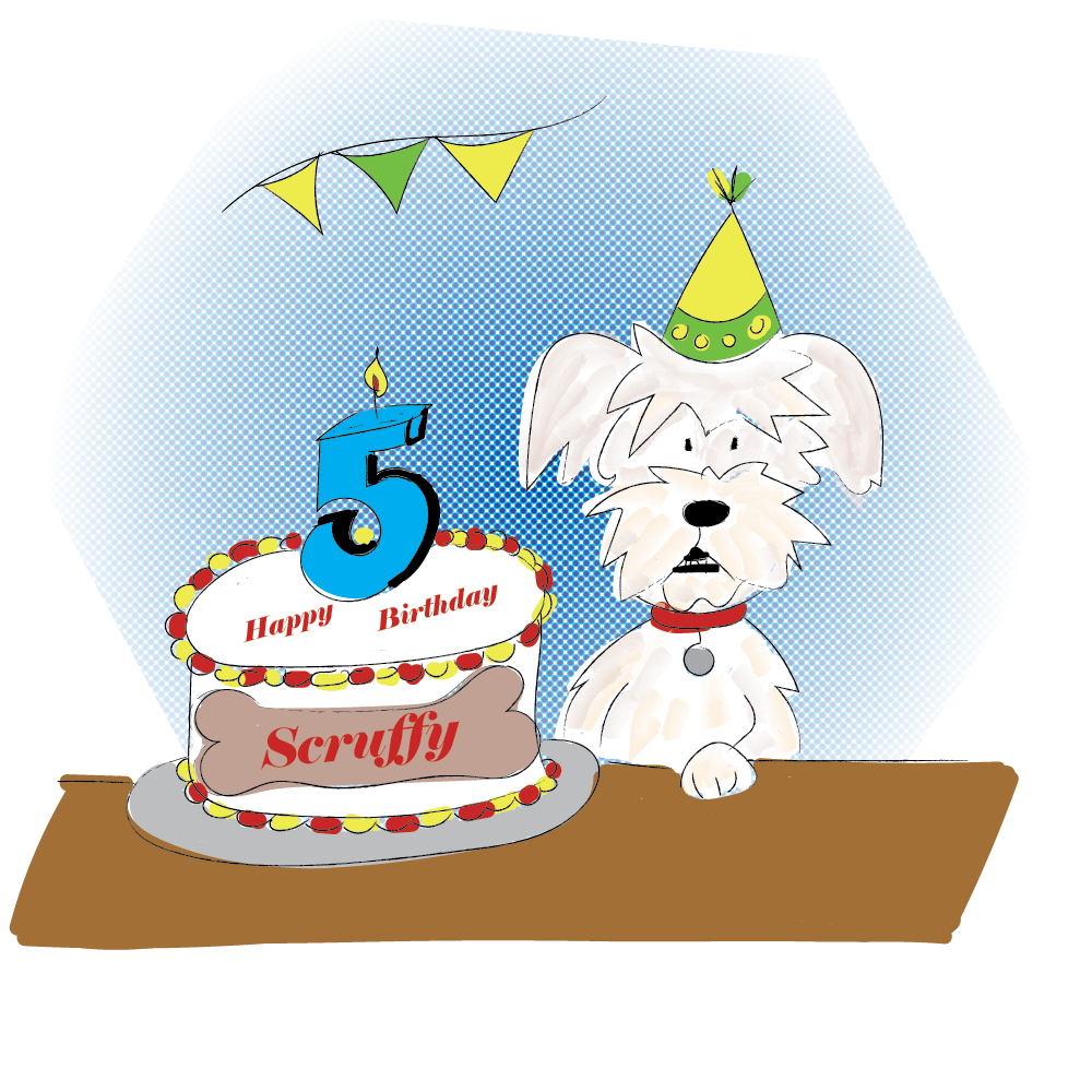 First digital version of Scruffy with his cake.
