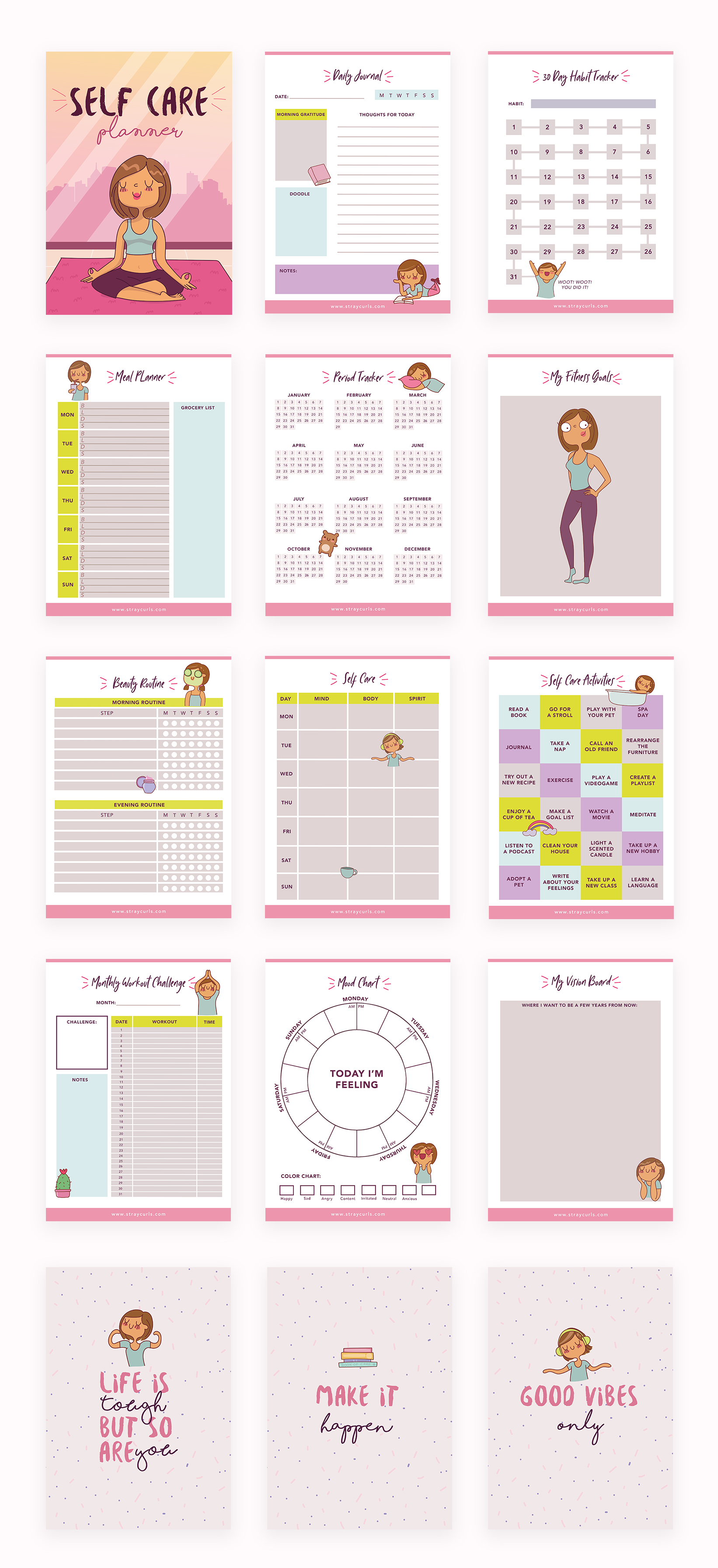 Check out this self care planner printable from Angela Vaz of Stray Curls !