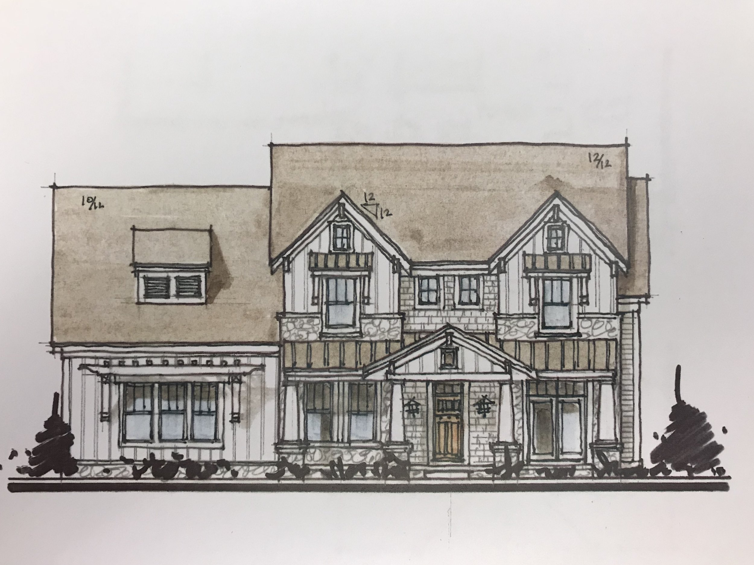 These sketches spotlight elevation options for either a Craftsman or Farmhouse style home. Which elevation would you choose?