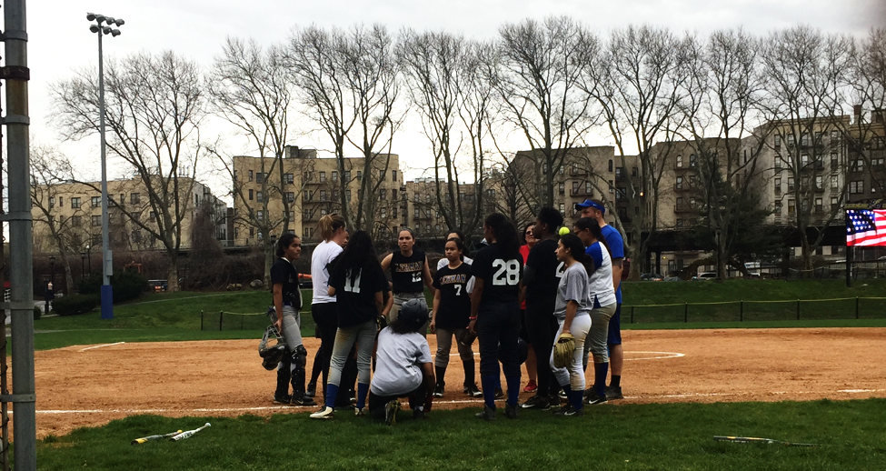 The Lightning huddles as they prepare for a doubleheader matchup against St. Joseph's on April 15. Photo by Ashley Francis.