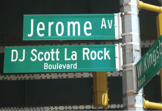 Street sign at Jerome Avenue and Kingsbridge Road, honoring DJ Scott La Rock. Photo by Leonel Henriquez.
