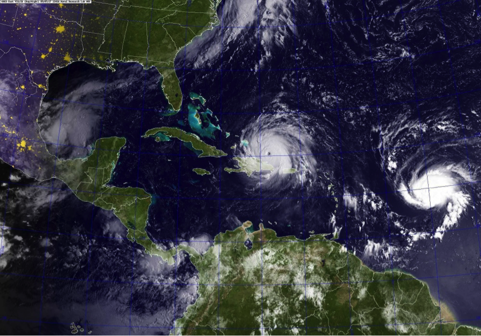 From left to right, Hurricanes Katia, Irma, and Jose. Photo courtesy of CHIPS Magazine.