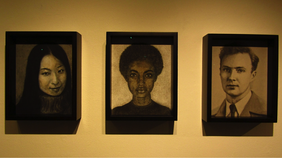 "From left to right, the portraits ""Yoko Sato, 1968-1999;"" ""Tasia Brown 1982-2012;"" and ""James Otis Purdy, 1914-2009"" by Heide Hatry. Photo by Deirdre Fanzo."