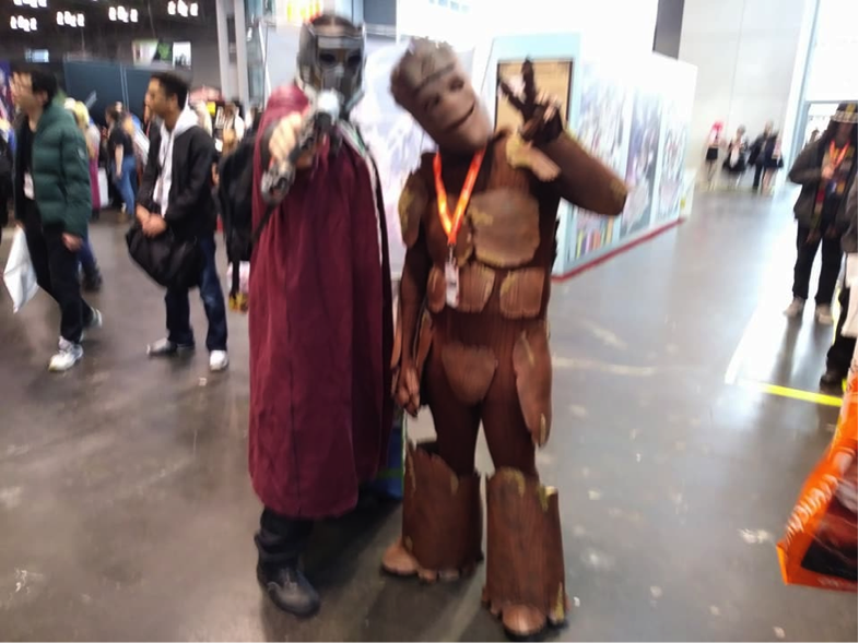 Red and Fat Man of True Epic Cosplay, cosplaying as Star Lord and Groot from Guardians of the Galaxy.