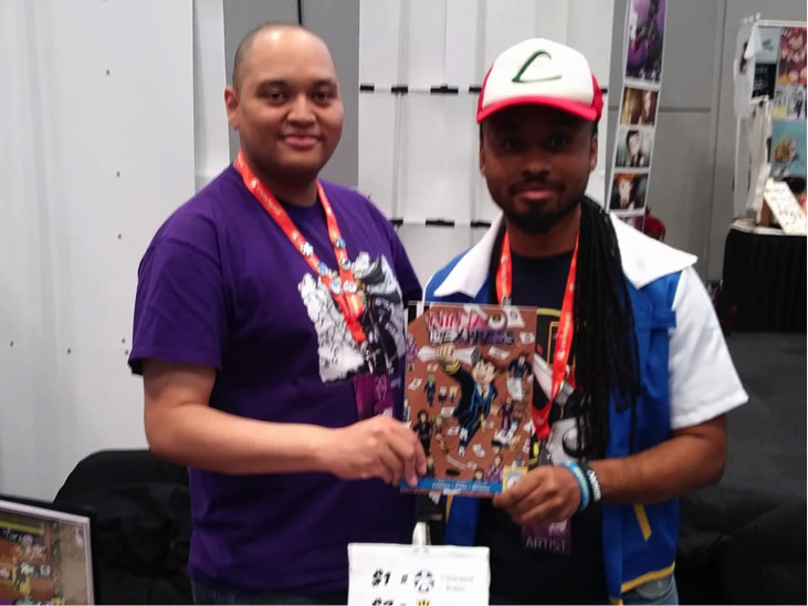 "Derrick Charles and Sojuan Newton promoting their comic book ""Ninja Express."" The main character's catchphrase is ""Nani?"" (the Japanese word for ""what""), which I found hysterical thanks to the ""omae wa mou shinderu"" meme."