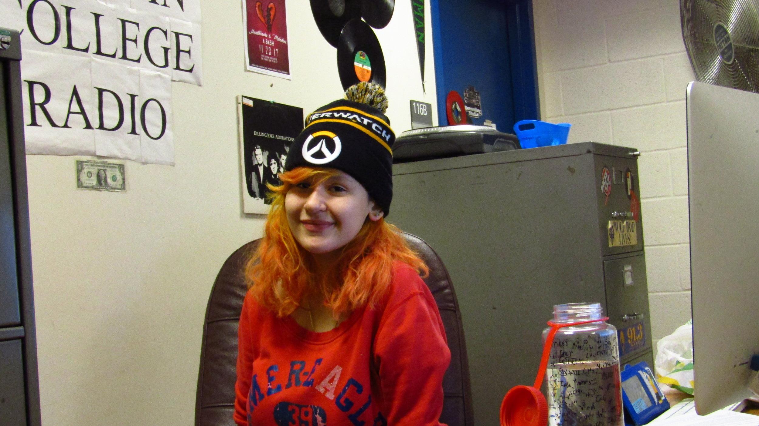 Waverliey Torres photographed in the Lehman College Underground Radio club room.