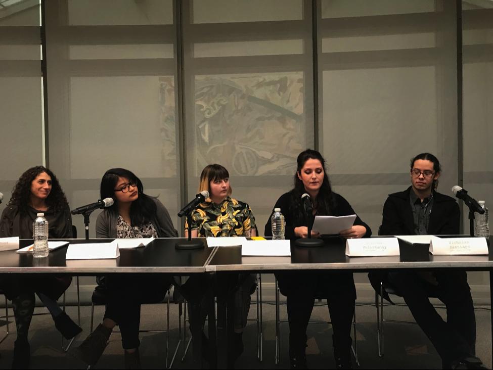 From left to right, Professor Jessica Yood, Lucero Luna Miranda, Zoe Fanzo, Arlinda Mulosmanaj, and Nicholas Santiago presenting at the Activism in Academia symposium. Photo courtesy of Hardik Yadav.