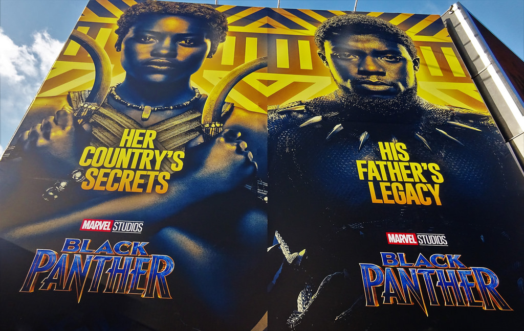 Lupita Nyong'o and Chadwick Boseman appear in promotional posters for Black Panther. Photo courtesy of Flickr.