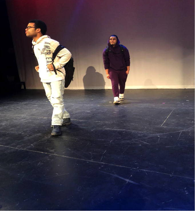 """Actors Brian Paredes and Kevin Vencosme play Roberto and Hector in """"Sheema's Wolf."""" Photo by Hector Bello."""