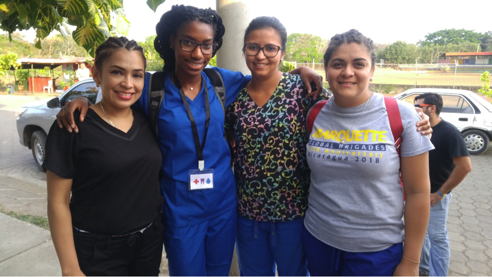 Spence with three doctors, Lucelia Quiroz (right), Dr. Karelia Torrez (middle) and pharmacist Carmen Pineda (far left) on the last day of volunteering in the community Santa Teresa in Nicaragua.
