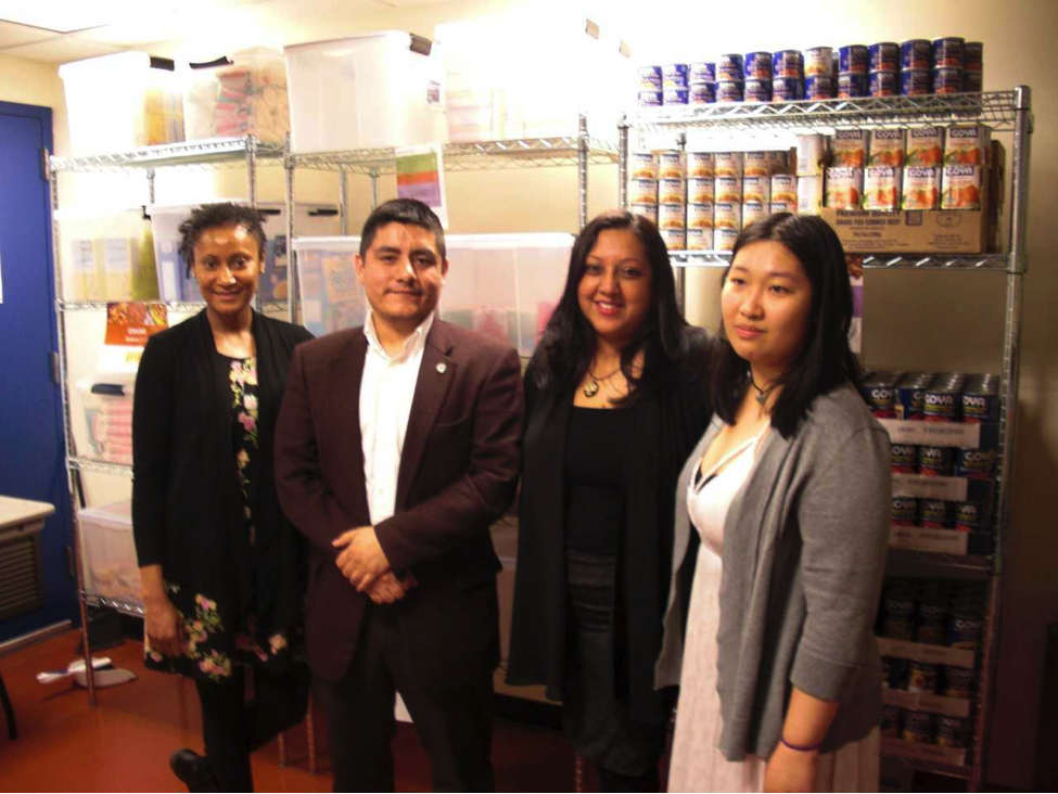 From left to right: Shovaine Singh, Student Coordinator for Lehman Food Bank; David Charcape, Assistant Director of Campus Life; Suzette Ramsundar, Associate Director of Campus Life and Coordinator of the H.H.L. Leadership Development Center; Lilian Yang, Graduate Assistant of the H.H.L. Leadership Development Center. Photo by Leonel Henriquez.