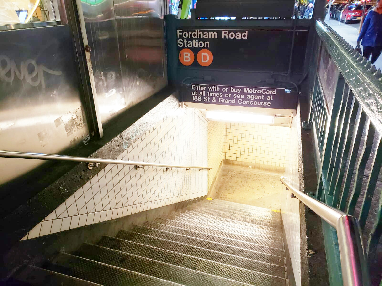 Fordham Road D train subway station where a man was attacked with a hammer and an 11-year-old boy was robbed his phone. The D train also stops at Bedford Park Boulevard, which is connected to Lehman. Both incidents were reported by NBC News Channel 4. Photo by Perla Tolentino.