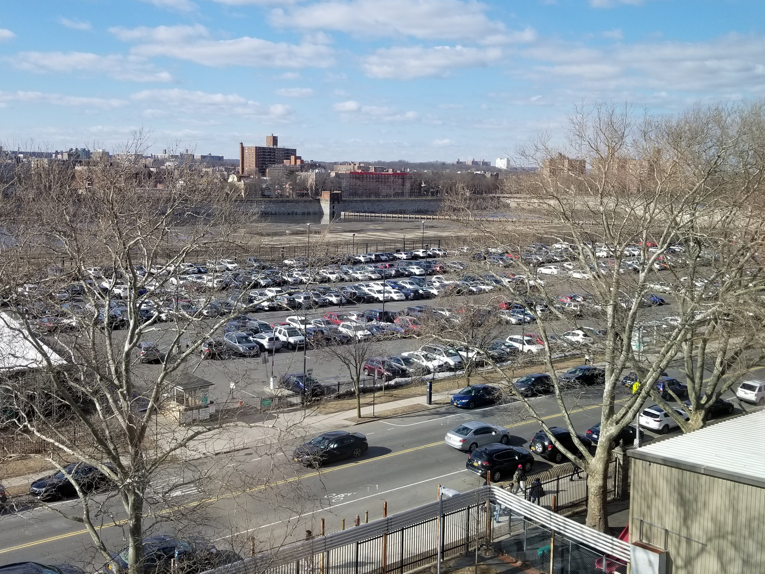 An overlook of the Lehman parking lot from the Science Building. Photo by Deanna Garcia.