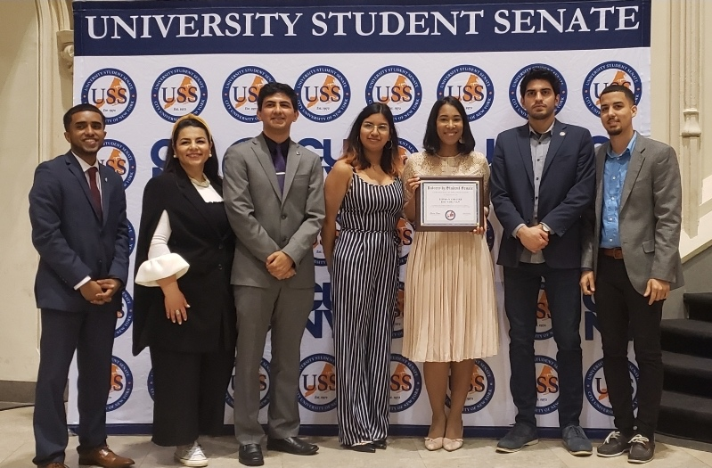 The Meridian receiving a recognition from CUNY's University Student Senate (USS), for outstanding service to the CUNY community for the 2018 - 2019 academic year.