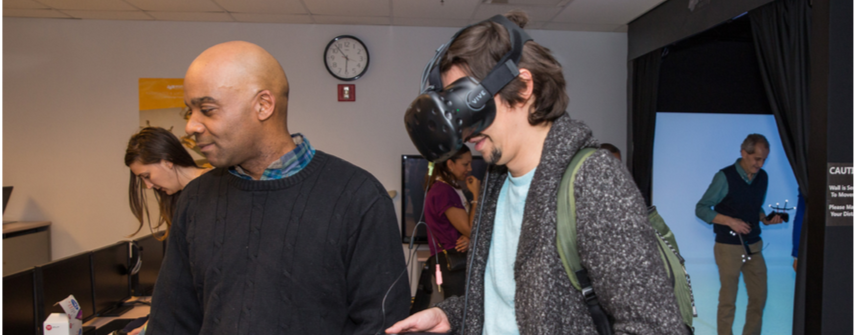 The Virtual Reality Academy allows students to get an understanding of how virtual real- ity works  (Photo Credit: Lehman College).