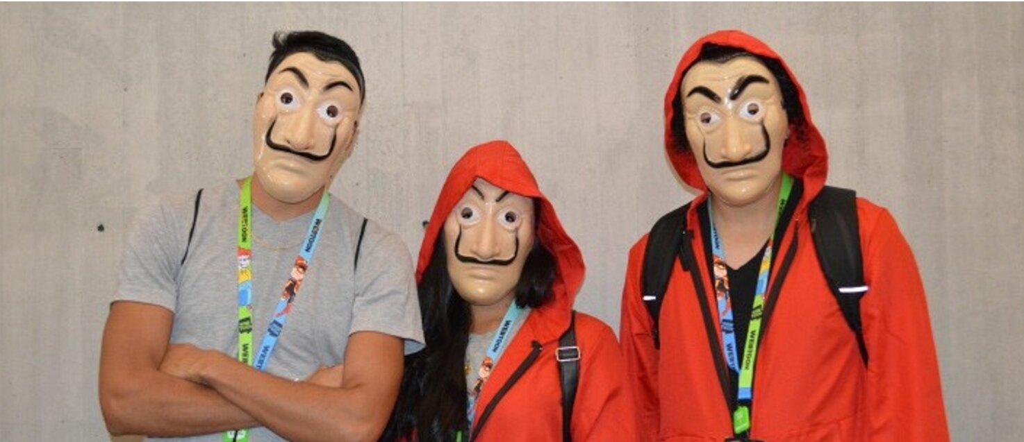 "Fans of ""La Casa de Papel"" dress up as characters at New York Comic Con 2019 (Photo Credit: Mayte Peña)"