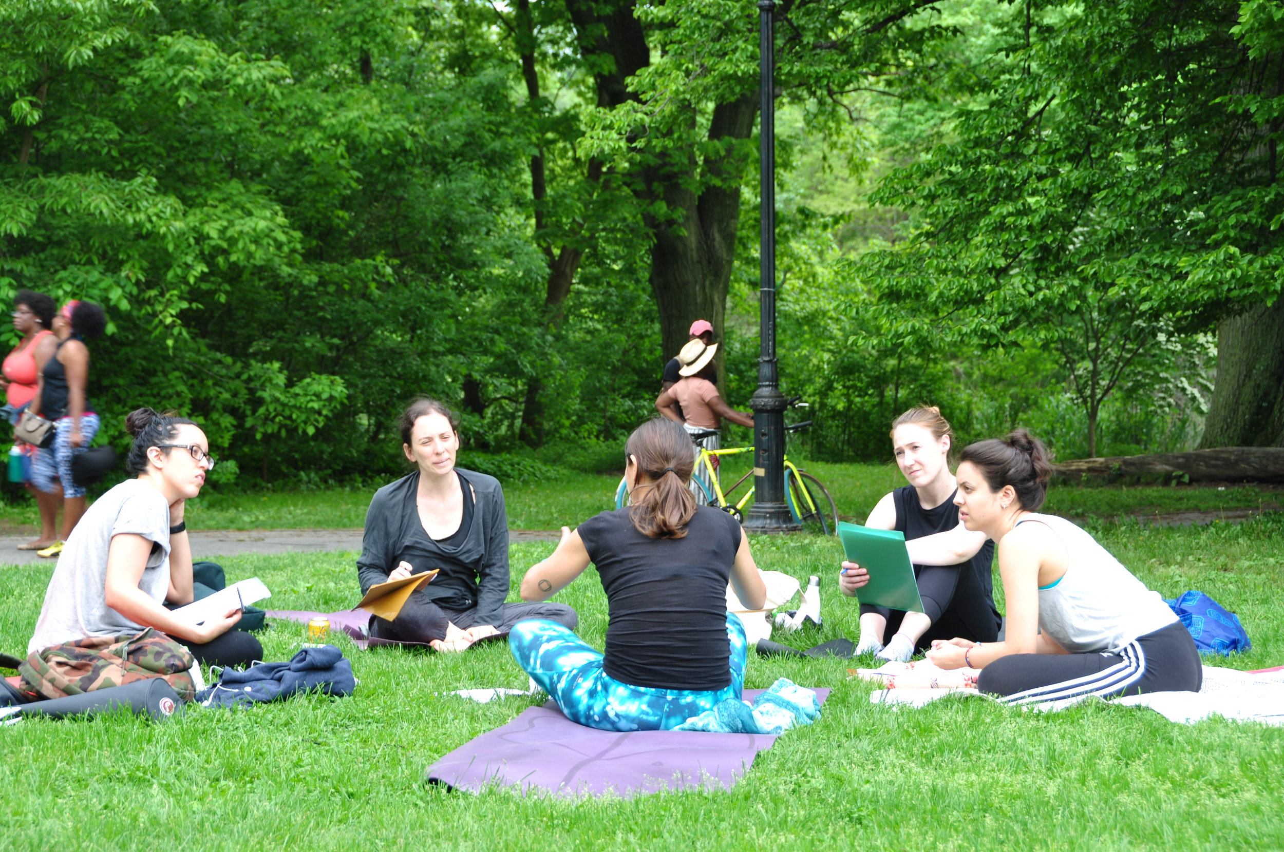 Small group coaching session in Prospect Park with Dominique