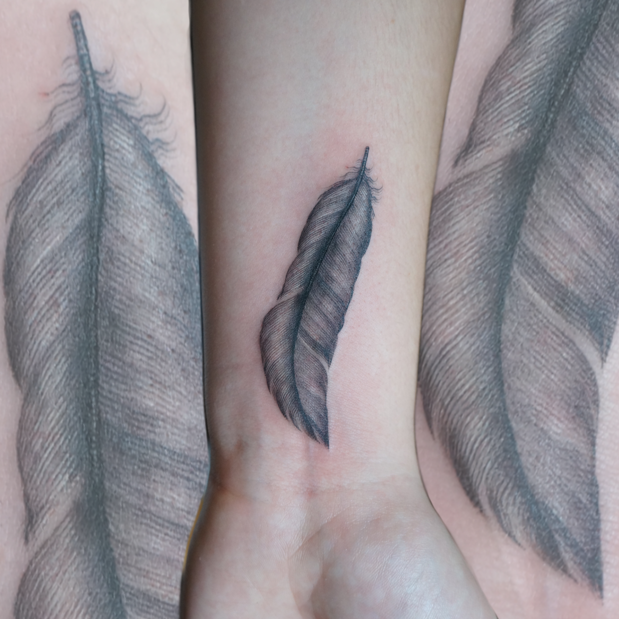 palm sized feather - 1 x palm sized feather tattoo, in black and grey or colour£90