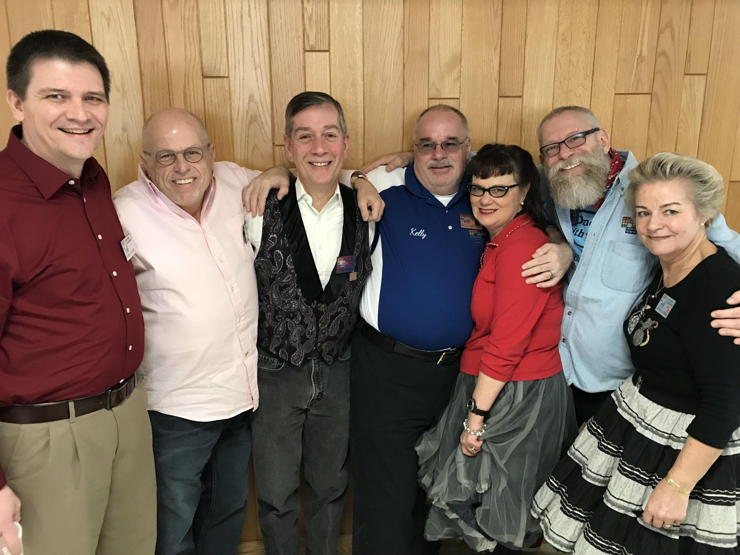 Our Club Caller Bobby Poyner, Jeff, Rick, Kelley, Diva, Rich, and Gunilla at MCASD's 57th Annual Sweetheart Dance, 2/19/2017, at Trinity Lutheran Church in Roselle