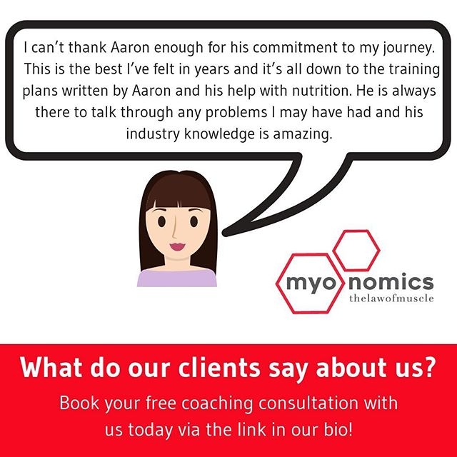 Interested in being coached towards your fitness goals in 2019? • Would like to hear more about the experiences of our current & past clients? • Check out our testimonials page at www.myo-nomics.com (link in bio) to see what you could be a part of in 2019 • What are your fitness goals this year?! • #thelawofmuscle #myonomics