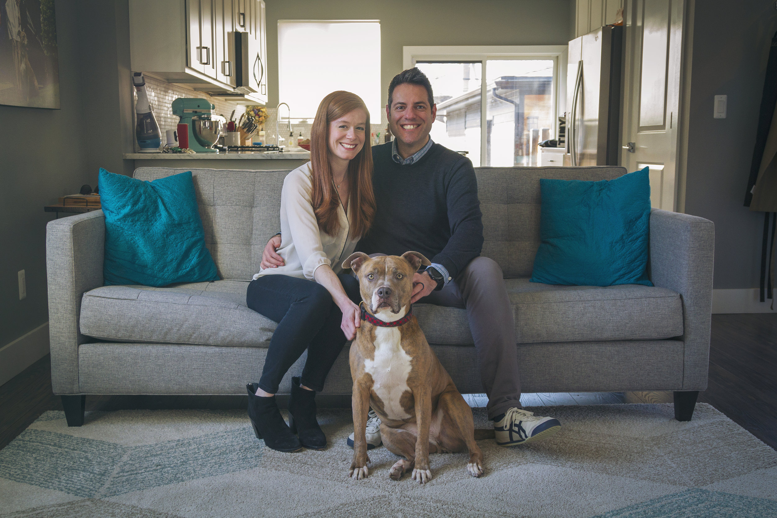 Mallory with her husband Ray and rescue dog, Detroit