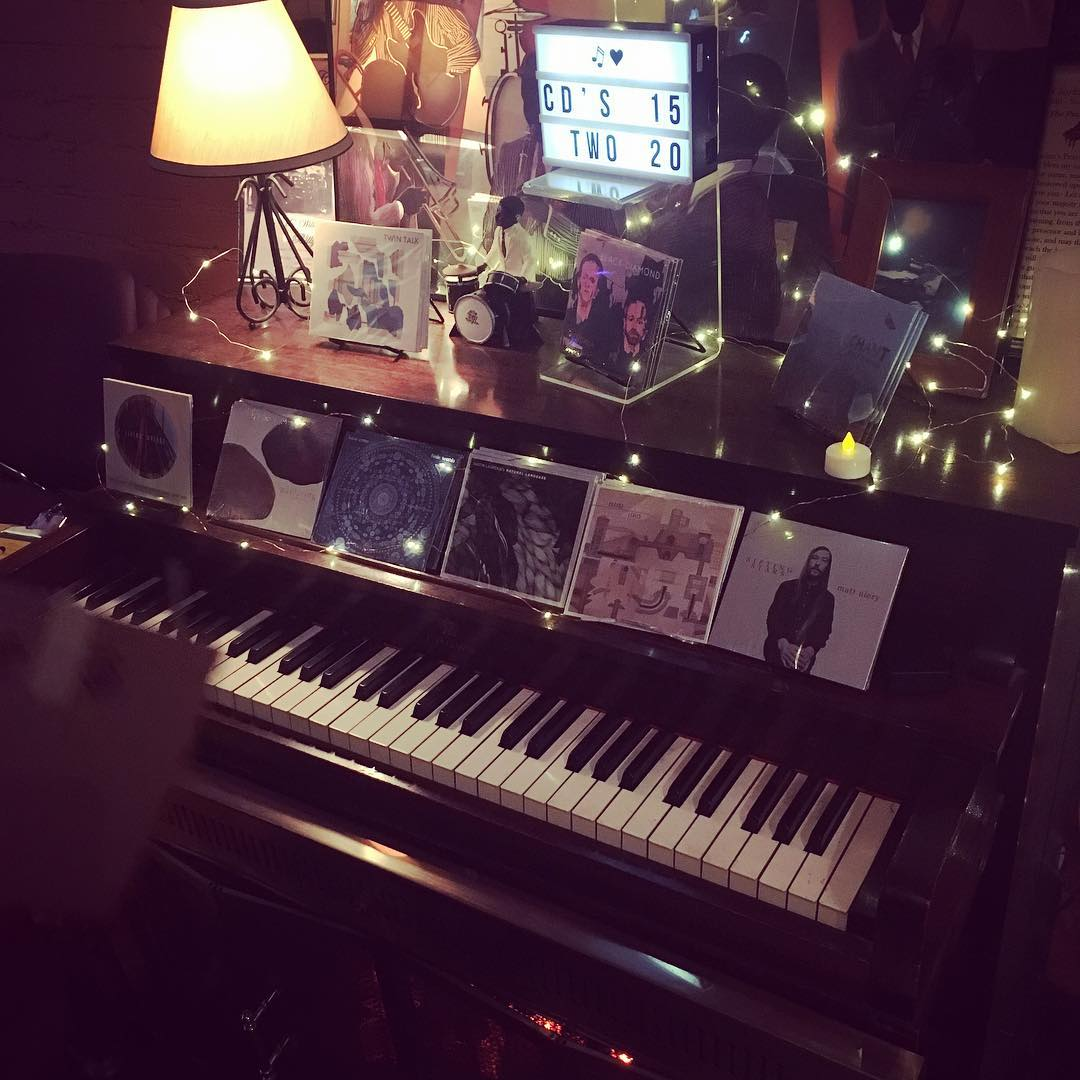 "The ""merch-piano"" featuring music from Black Diamond, Twin Talk, and all of our collective and individual recordings."