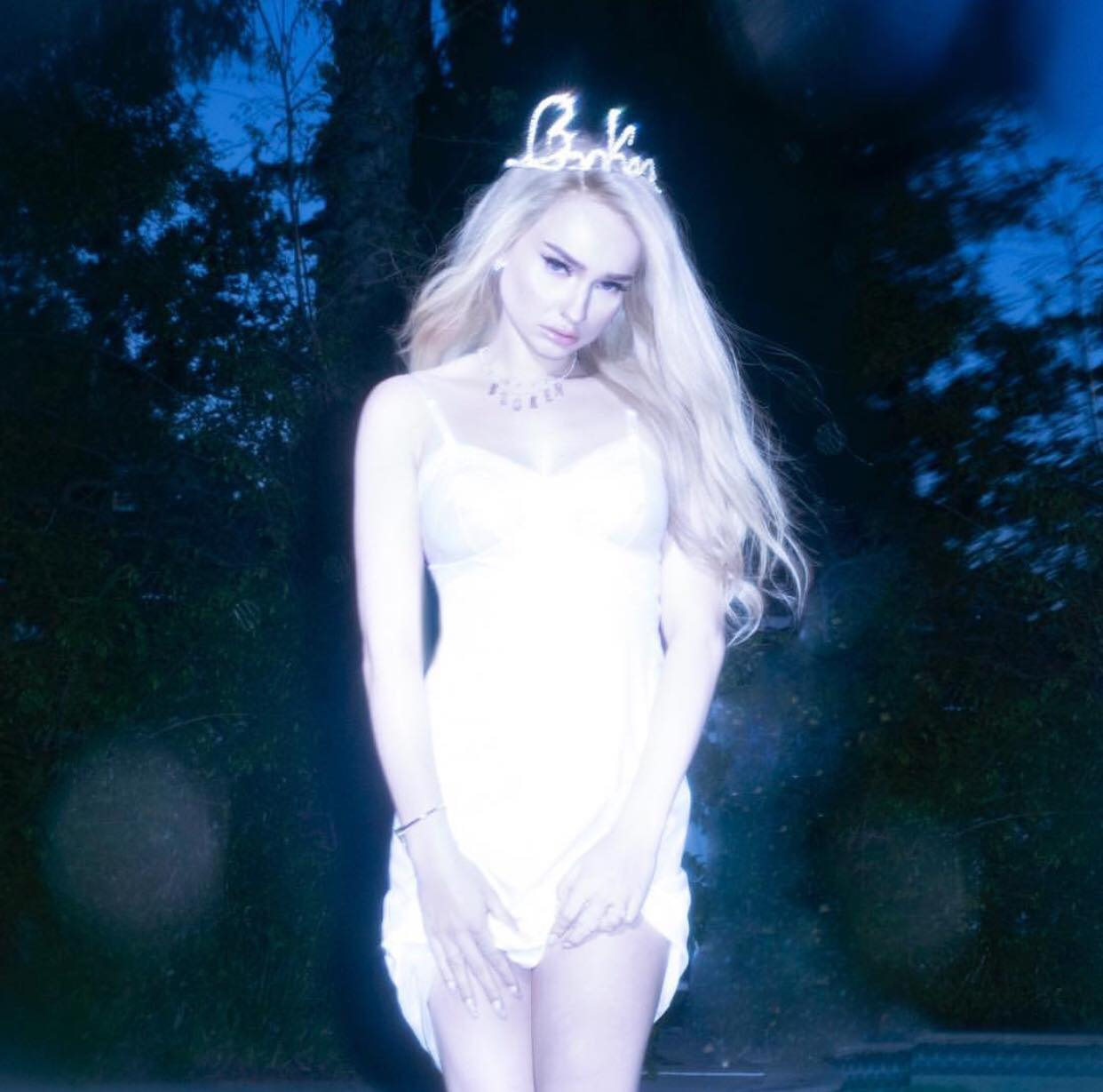 "Kim Petras' Broken Album Cover Featuring Custom ""Broken"" Tiara."