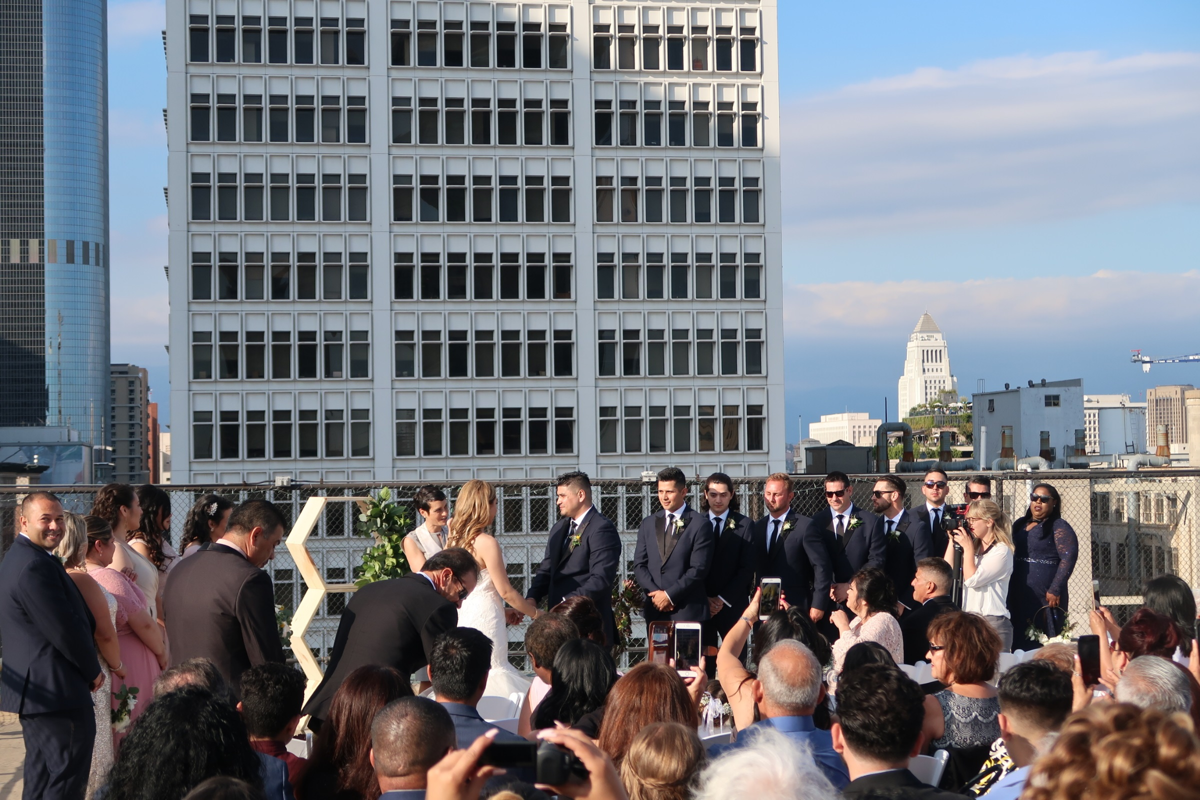 Wedding at Athletic Club rooftop in Downtown Los Angeles