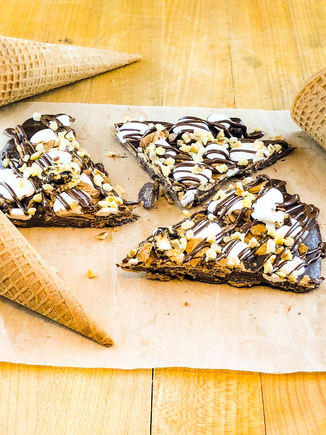 s'more brittle with ice cream cones