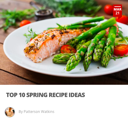 Top 10 Spring Recipe Ideas - It is finally Spring Time! The season where the air becomes a little clearer tastes become more crisp, and we can finally breathe in the fresh air. As seasons change, menus change with them. To help you we've rounded up the Spring-time ingredients and also given some creative recipe applications.