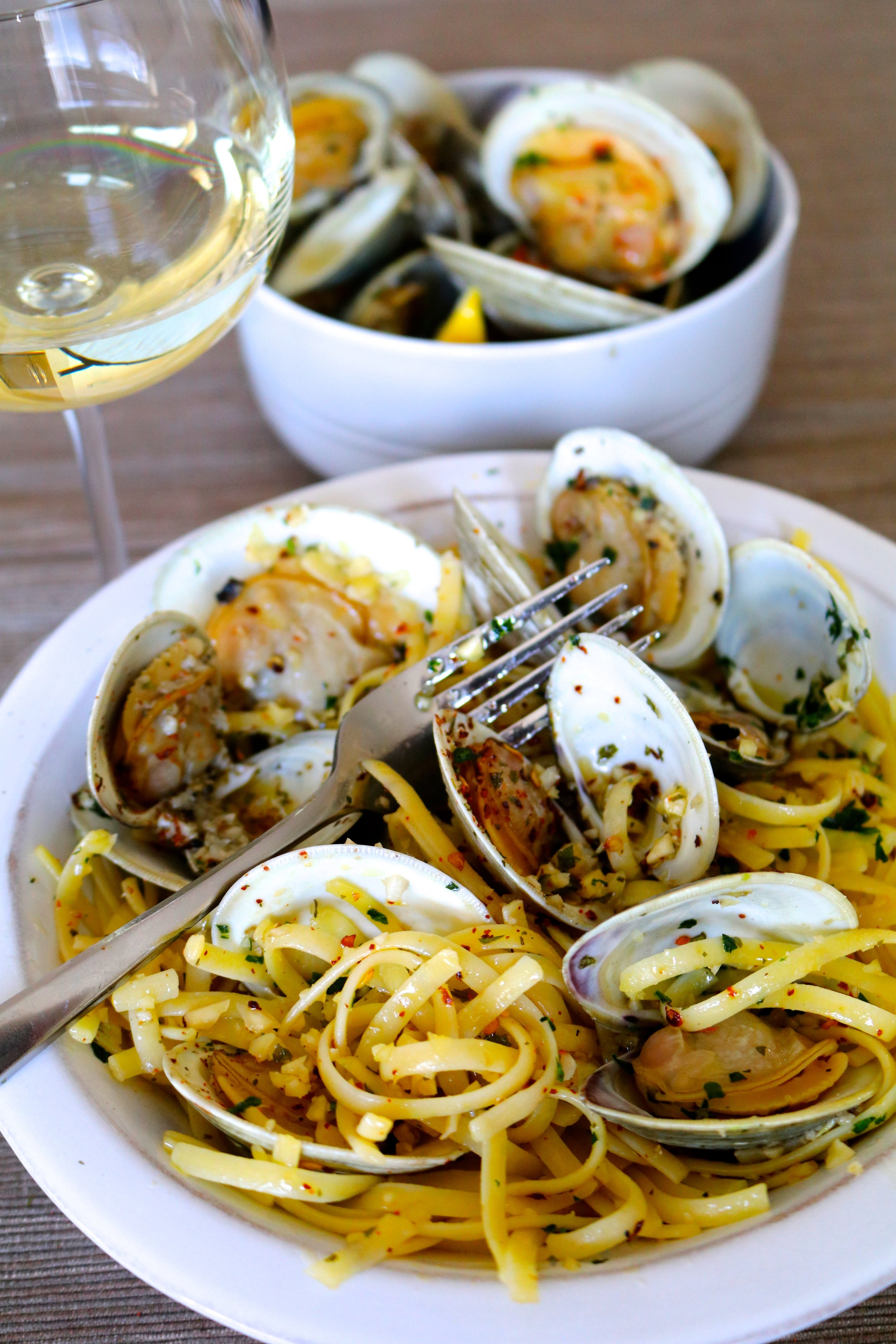 Chef Ione Cavalli Catering New York - Fettuccine with Clams, Almonds & Herbs