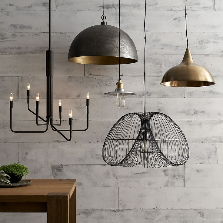 Dark metallic lights  - https://www.crateandbarrel.com/ideas-and-advice/lighting-ideas