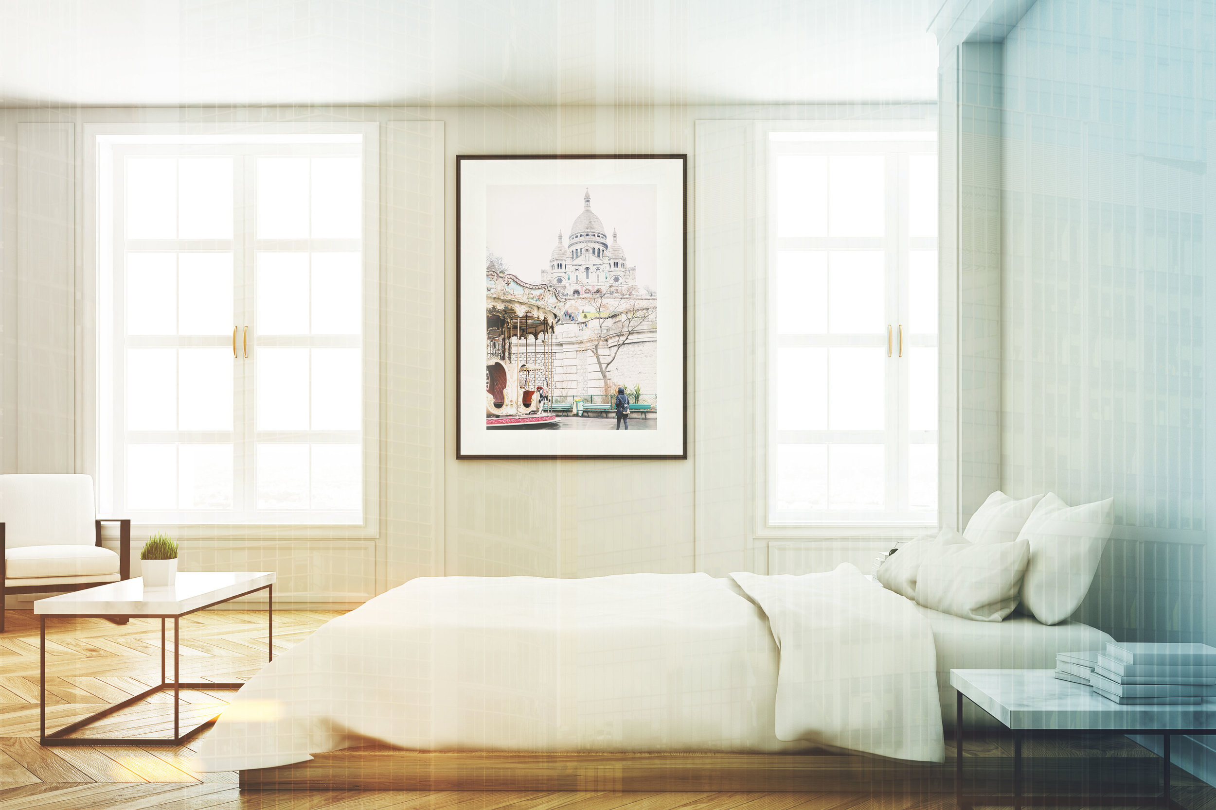 View of a bedroom with poster toned