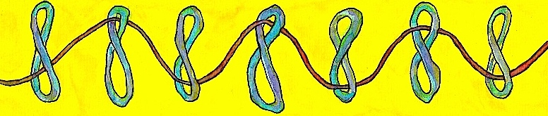 The figure eight symbolizes the continuum of consciousness between waking and dreaming that belongs to the experience of individuals. They each have a thread weaving through and connecting them to others in their community. At the Dreambridge, this thread is the gift of dream sharing, and Dream-Arts!