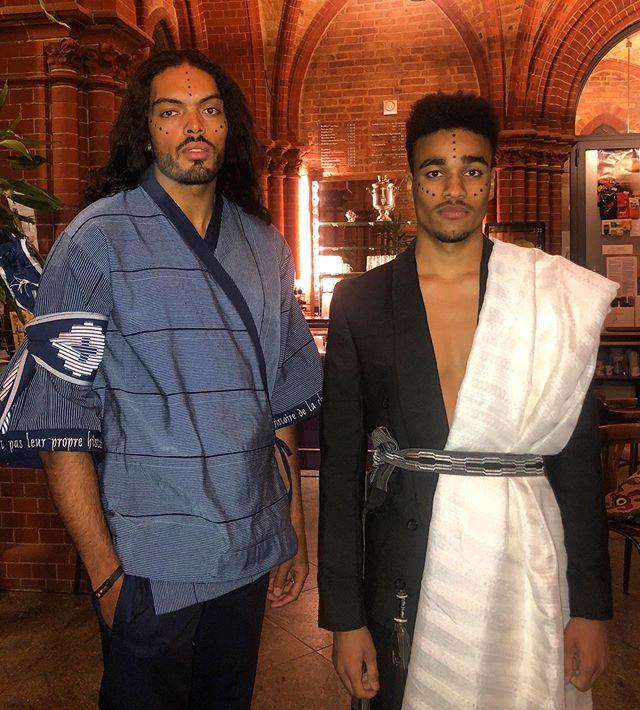 📍BERLIN 🖤 #Fekhanti x #ForumdeSaintLouis Joël & Joshua Backstage. ▪️KAZUKA kimono available on our website. ▪️BAKOU set soon available.